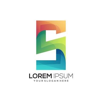 S letter eerste logo geweldig kleurrijk verloop
