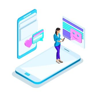 S meisje communiceert op internet, internetkennis, liefdesboodschappen, echtgenoot zoeken, virtuele communicatie. helder holografisch