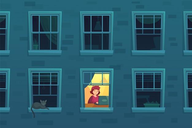 's nachts werken. drukke workaholic werkt thuis 's nachts wanneer buren slapen, eenzame man in raamkozijn cartoon illustratie