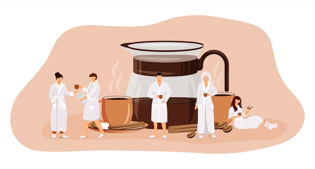 's ochtends koffie concept illustratie. americano drinken. espresso in glazen pot. gekruide zwarte thee in de beker. mensen in gewaden stripfiguren voor web. ontbijt creatief idee