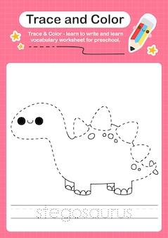 S overtrekwoord voor dinosaurussen en kleurwerkblad met het woord stegosaurus