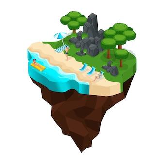 S rust op het strand, oever van de rivier, meren, zeeën, meisjes zonnebaden, boslandschap, bergen, stenen. groot mooi sprookjeseiland