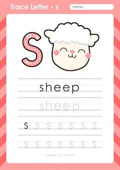 S schapen: alfabet az tracing letters werkblad - oefeningen voor kinderen