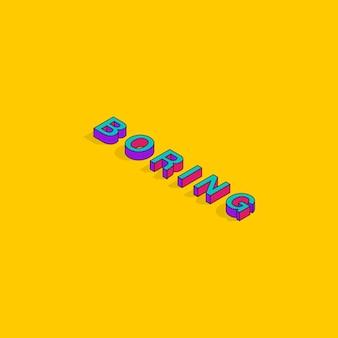 Saai tekst 3d isometrische lettertype ontwerp popart typografie belettering vectorillustratie