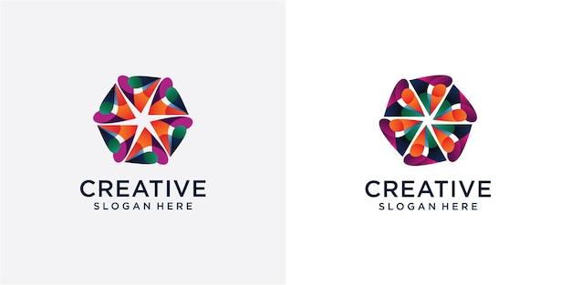 Saamhorigheid en gemeenschapsconceptontwerp, creatieve hub, sociaal verbindingspictogram, sjabloon en logoset. digitaal gemeenschapslogo ontwerp