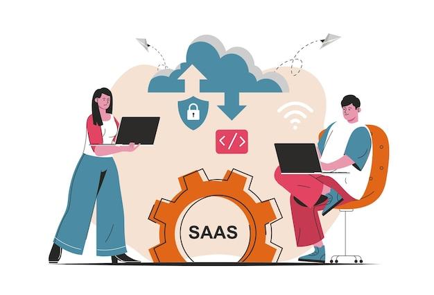 Saas-concept geïsoleerd. kandidaat-gebruikers kopen softwarelicenties, gebruiken cloudtechnologieën. mensenscène in plat cartoonontwerp. vectorillustratie voor bloggen, website, mobiele app, promotiemateriaal.