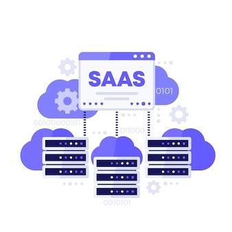Saas, hosting en cloudoplossingen vectorillustratie