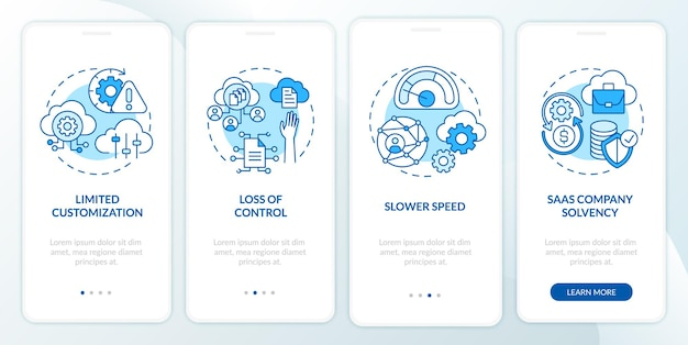 Saas-obstakels op het scherm van de mobiele app-pagina met concepten. beperkte instellingen, langzamere doorloop 4 stappen grafische instructies. ui-sjabloon met rgb-kleurenillustraties