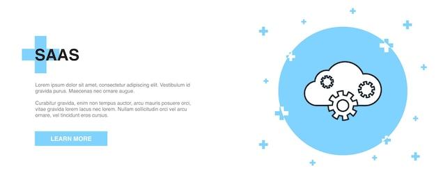 Saas-pictogram, banner overzicht sjabloon concept. saas lijn illustratie ontwerp