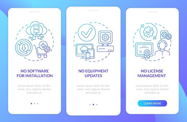 Saas plus onboarding mobiele app-pagina met concepten. geen apparatuurupdates, licenties doorlopen in 3 stappen. ui-sjabloon met rgb-kleur