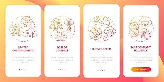Saas-problemen bij het onboarding van het paginascherm van een mobiele app met concepten. solvabiliteit van het bedrijf, verlies van gegevenstoegang doorloop 4 stappen ui-sjabloon met rgb-kleurenillustraties