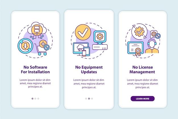 Saas-voordelen onboarding mobiele app-paginascherm met concepten. geen software voor installatie, update 3 stappen. ui-sjabloon met rgb-kleur