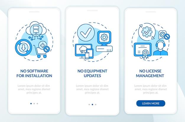 Saas-voordelen: onboarding van mobiele app-paginascherm met concepten. geen software voor installatie, update grafische instructies voor walkthrough-stappen. ui-sjabloon met rgb-kleurenillustraties