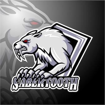 Sabertooth esport logo mascotte ontwerp
