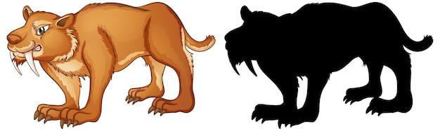 Sabertooth-karakters en zijn silhouet op witte achtergrond