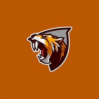Sabertooth mascotte en esports-logo