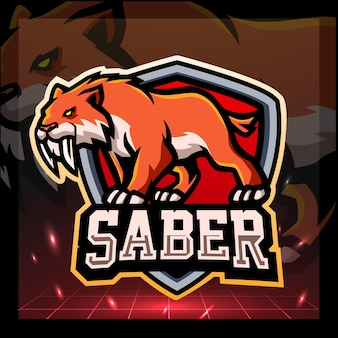 Sabertooth mascotte esport logo ontwerp