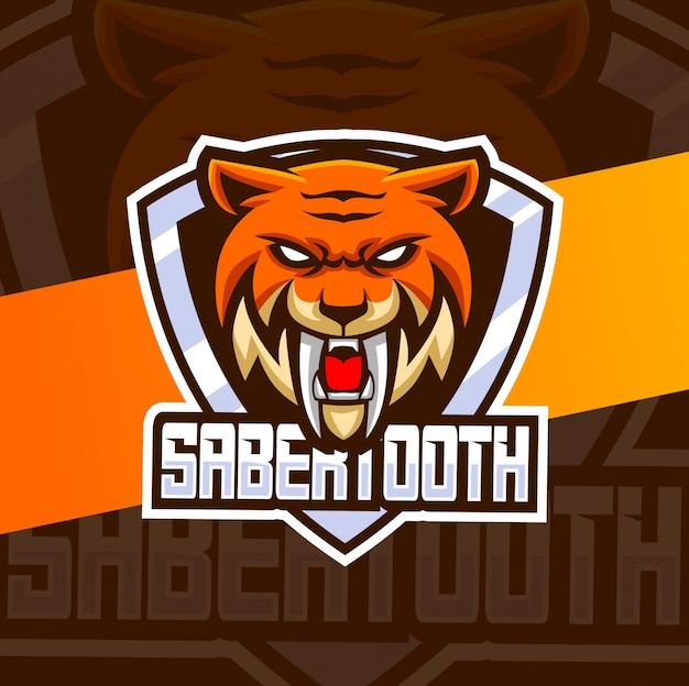 Sabertooth tijger hoofd mascotte esport-logo