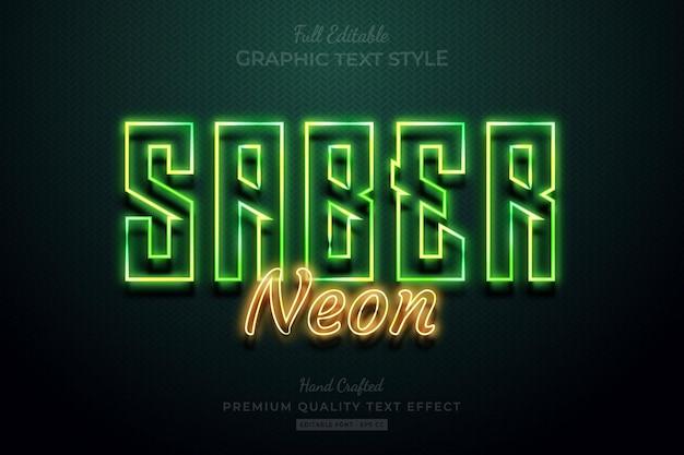 Sabre neon glow bewerkbare premium teksteffect lettertypestijl