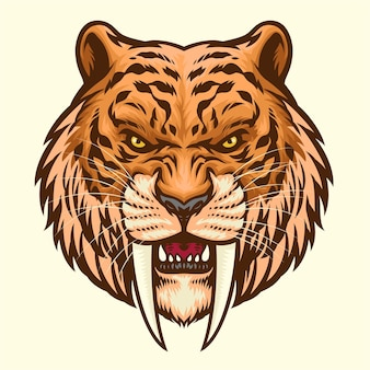 Sabretooth hoofd mascotte boos