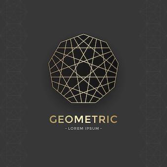 Sacred geometric logo met gouden lijn.