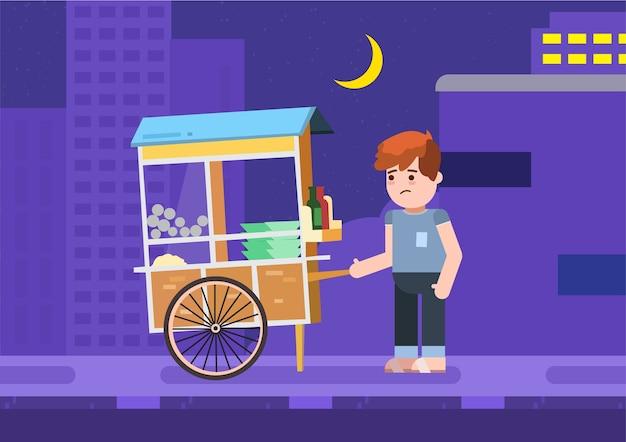 Sad bakso street food seller omdat er geen koper is