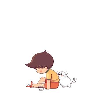 Sad boy and the dog