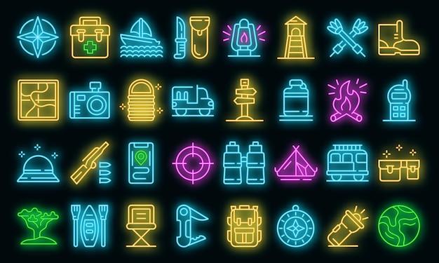 Safari apparatuur pictogrammen instellen. overzicht set safari uitrusting vector iconen neon kleur op zwart