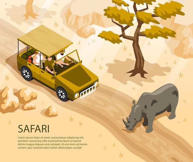 Safari-auto met toeristen en neushoorns die 3d isometrische weg kruisen