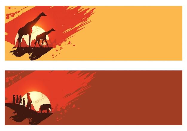 Safari-banners, silhouet van dieren in het wild in zuid-afrika