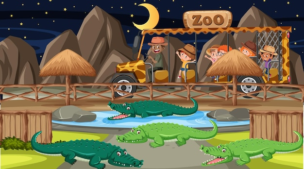 Safari bij nachtscène met veel kinderen die naar de alligatorgroep kijken