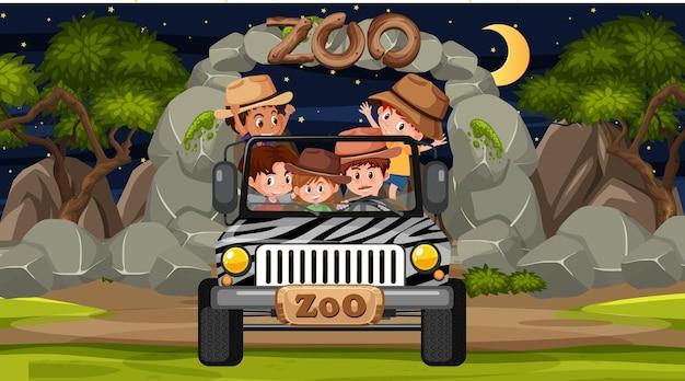 Safari bij nachtscène met veel kinderen in een jeepauto