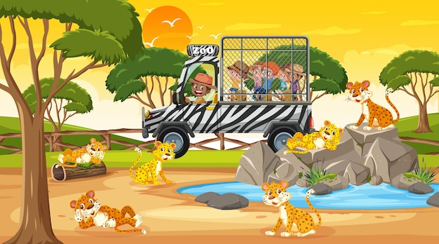 Safari bij zonsondergang met veel kinderen die naar de luipaardgroep kijken