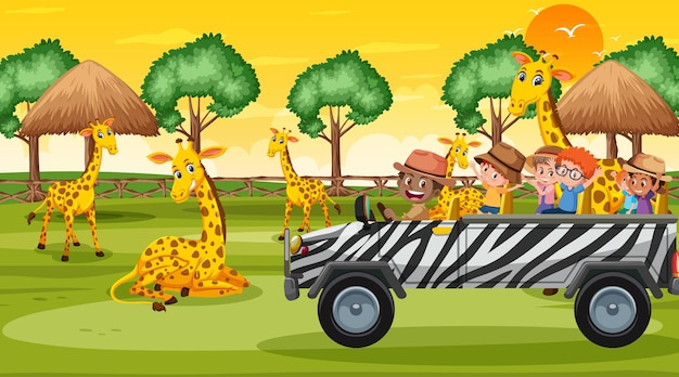 Safari bij zonsondergang tijdscène met kinderen kijken naar giraffengroep