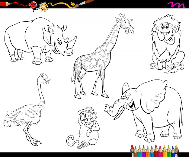 Safari cartoon dierlijke karakters kleurboek