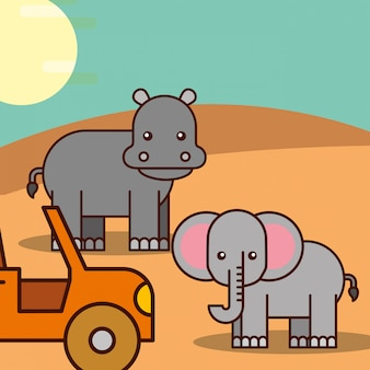 Safari dieren cartoon