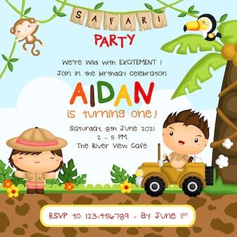 Safari kids verjaardagsuitnodiging voor feestje