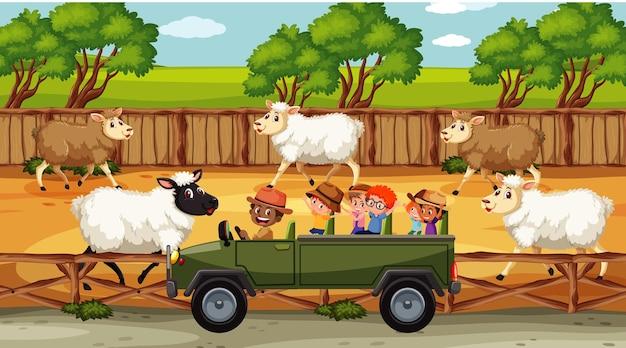 Safari-scènes met veel schapen en stripfiguren voor kinderen