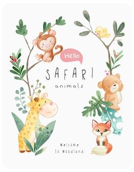 Safari schattige dieren frame vectorillustratie