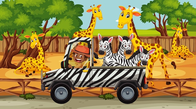 Safariscène met veel giraffen en zebra's op de vrachtwagen