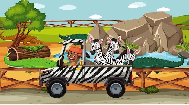 Safariscène met veel zebra's op een vrachtwagen