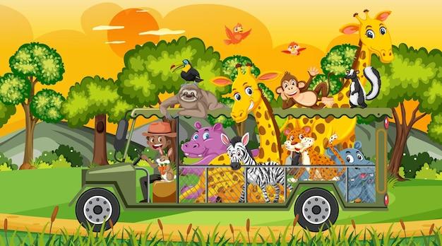Safariscène met wilde dieren in de kooiwagen