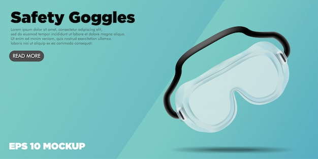 Safety googles medische kit bewerkbare website banner