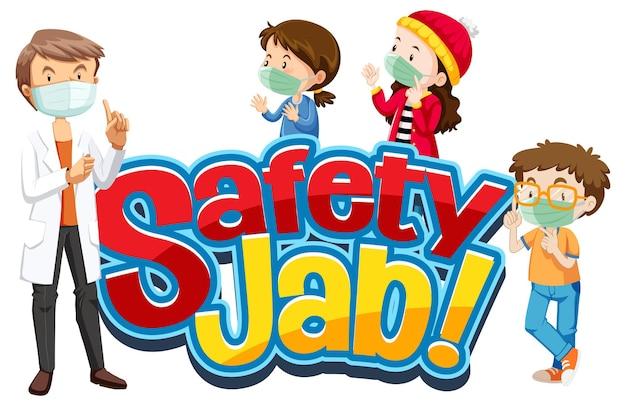 Safety jab-lettertype met kinderen draagt een stripfiguur met een medisch masker
