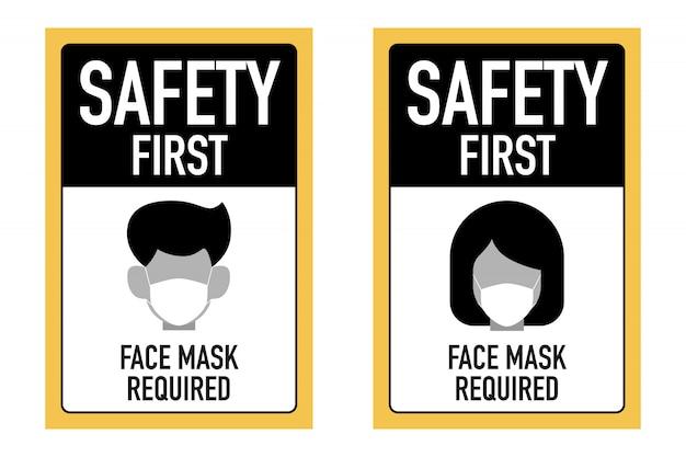 Safty eerste gezichtsmaskers vereiste bewegwijzeringontwerpconcept.
