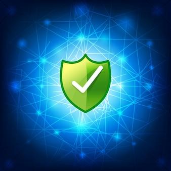 Safty-schild secure netwerkverbinding op blauwe achtergrond
