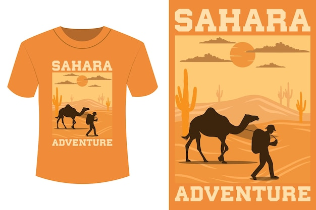 Sahara avontuur t-shirt design vintage retro