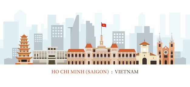 Saigon of ho chi minh city vietnam skyline oriëntatiepunten Premium Vector