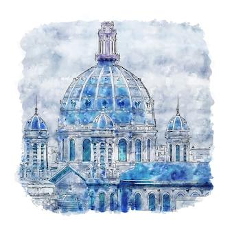 Saint augustin parijs frankrijk aquarel schets hand getrokken illustratie