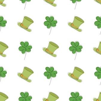 Saint patrick dag naadloos patroon - klaverbladeren en groene bolhoed, eenvoudige vakantie vectorachtergrond voor verpakking, textiel, digitaal papier